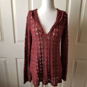 Chico's knit Fall colored hooded pullover sweater
